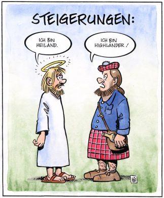 Lies ein gutes Buch - Highlander Cartoon