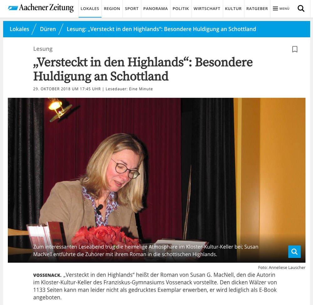 Versteckt in den Highlands: Pressebericht Aachener Zeitung